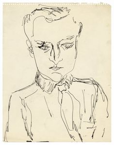 Jane Freilicher, John Ashbery, c. 1954, pen and ink on paper, 13¾ × 10⅞ inches. Private collection, courtesy the Flow Chart Foundation and T...