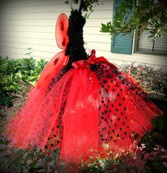 Lady Bug Tutu Dress - red and black with polka dots, baby tutu, girl tutu, toddler tutu, Halloween Costume, lady bug birthday, tutu dress