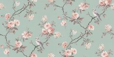 Bird Song (40768) - Albany Wallpapers - A grey trail with delicate soft pink flowers and a friendly bird in the branches, set on a smooth eau de nil green background. Other colours available. Please request sample for true colour match.