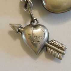 Sterling Silver Puffy Heart Charm - Heart Pierced With Arrow - Engraved 'Ann' 48.00 laurie