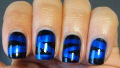 Kleancolor Metallic Sapphire tape mani nail art design