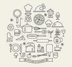 Illustration of Cooking Foods and Kitchen outline icons set vector art, clipart and stock vectors. Sketch Notes, Hand Sketch, Doodle Drawings, Doodle Art, Kitchen Icon, Cooking Icon, Doodle Icon, Bullet Journal Inspiration, Icon Set