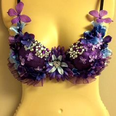 Purple Flower Rave Bra by OneLoveApparel on Etsy, $45.00