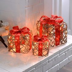 pre lit brown rattan bowed gifts set of 3 kirklands christmas packages - Christmas Packages