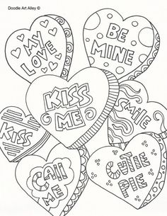Valentines Day Coloring Pages - Doodle Art Alley Valentines Day Coloring Page, Heart Coloring Pages, Pattern Coloring Pages, Free Printable Coloring Pages, Adult Coloring Pages, Coloring Books, Valentines Coloring Sheets, Printable Valentines Coloring Pages, Candy Coloring Pages