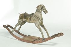 """Probably Germany, late 19th-early 20th century. Original dapple grey paint and leather tack. Imperfections. 31""""h. 57""""w."""