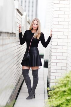 Over-The-Knee Boots + Leather Skirt — CityLuxeStyle.com
