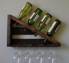 Geometric Parallel Ii 4 Bottle Wine Rack With 4 Glass Slot Holder - Right Hand
