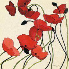 Poppies and Cream II by Shirley Novak