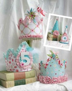 Birthday crowns - love the colors. I'm not too old for a birthday crown, am I? Birthday Fun, Birthday Parties, Birthday Crowns, Birthday Hats, Tea Parties, Birthday Ideas, Party Hats, Party Favors, Festa Party