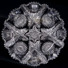 Libbey Nola Pattern Round Tray Cut Glass, Glass Art, Glass Etching, Etched Glass, Round Tray, Opaline, Vintage Glassware, Antique Glass, Crystals