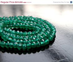 51% OFF Green Onyx Faceted Rondelle Emerald by somsstudiosupplies