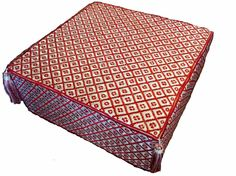 Moroccan Design  Ottoman Pouf seat  in Royal Red & White linen embroidered  #Mediterranean