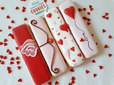 Cookie sticks. Valentines Day. Cupids bow, hearts of love.