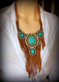 Necklace Bib Faux Suede Fringe Brown Beaded Turquoise Boho Western Style