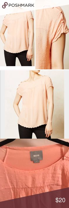 Maeve Swiss dot top Darling peach Swiss dot top from Anthropologie. Button sleeve detail! Like new condition. (Lighting online shows a little lighter of a peach) Maeve Tops Blouses