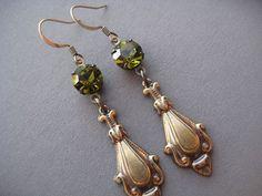 Olive Green Earrings  Olivine Earrings  by SilverTrumpetJewelry