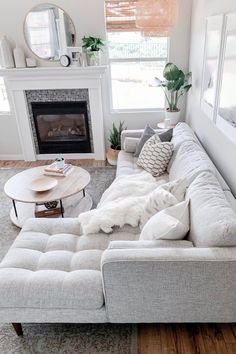 Sven Birch Ivory Right Sectional Sofa Sven Birch Ivory Right Sectional Sofa Make An All White Space Work By Mixing In Different Patterns And Textures Photo By Domestic Blonde Sofa Mcmsofa Midcenturymodern Living Room With Fireplace, Cozy Living Rooms, Living Room Interior, Apartment Living, Home And Living, Living Room With Sectional, Modern Living Room Decor, Modern Sectional, White Apartment