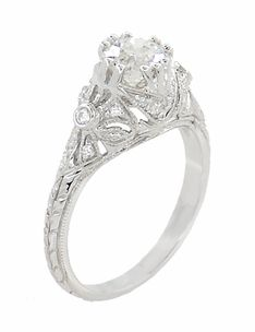 Edwardian Antique Style 1 Carat Diamond Filigree Engagement Ring in 18 Karat White Gold - Item R6791D - http://www.antiquejewelrymall.com/r6791d.html
