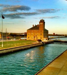 Sunset at the Soo Locks. Visit the Sault for Engineers Day!