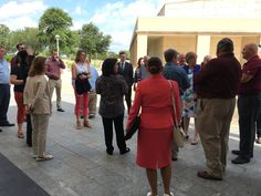 Director of OEE, Lisa Brown, and EMPSA Program Assistant, Linda, lead EMPSA students — at George Bush Presidential Library.