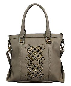 Light Gray Geometric Studded Tote by Adhesion, LLC #zulily #zulilyfinds