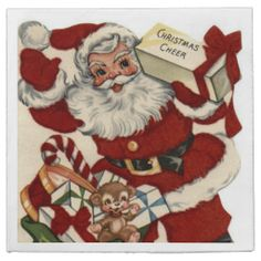 Shop Vintage Christmas Santa Holiday paper napkins created by DoodlesHolidayGifts. Christmas Card Images, Vintage Christmas Images, Old Fashioned Christmas, Christmas Past, Retro Christmas, Vintage Holiday, Christmas Greeting Cards, Christmas Pictures, Christmas Greetings