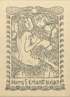 Ex Libris - Höppener (Fidus), Hugo (1868-1948) for Harry F. Erhardt