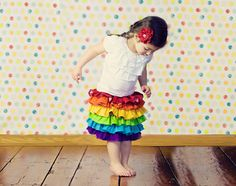 Rainbow skirt, ruffles, kids, toddler, party, colorful, bright, baby, fashion, birthday, vibrant, summer. $65.00, via Etsy.