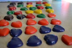 Heart Shaped Crayons ~ when you make these, only use high quality crayons like crayola or else they will not write