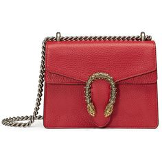 Gucci Dionysus Leather Shoulder Bag (€1.615) ❤ liked on Polyvore featuring bags, handbags, shoulder bags, red, shoulder hand bags, gucci handbags, red purse, mini purse and chain shoulder bag