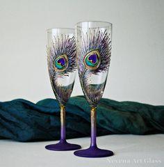 Purple Peacock Wedding Glasses Champagne Flutes. by NevenaArtGlass