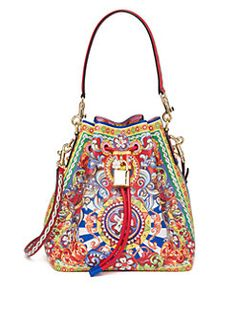 Dolce & Gabbana - Multicolor Textured Leather Bucket Bag I am obsessed.