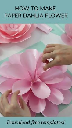"Try to make this beautiful dahlia flower with FancyBloom! And make sure to click the link for downloading free templates! And if you want to go further and make the whole backdrop, then be sure to check out ""Paper Flower Backdrop DIY Kit"". Paper dahlia, paper dahlia diy, diy paper dahlia, paper dahlia tutorial, paper dahlia templates, paper flowers #paperdahlia #paperflowerstemplates #paperflowertutorial #diypaperflower Diy Cardstock Flowers, How To Make Paper Flowers, Paper Flowers Craft, Paper Flowers Wedding, Paper Flower Wall, Paper Flower Backdrop, Flower Crafts, Diy Flowers, Free Paper Flower Templates"