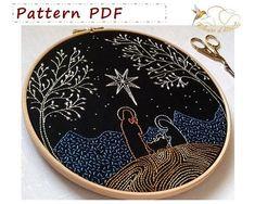 embroidery pattern pdf - pdf sewing patterns - embroidery kit - embroidery hoop art - Nativity - Embroidery design