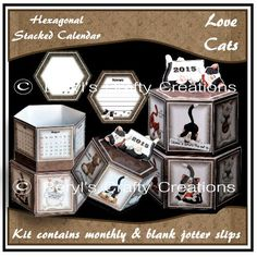 A great little calendar gift for any cat lover. The two stacked hexagonal boxes are decorated all around with quirky cat pics. Craft Projects, Projects To Try, Fun Crafts, Decorative Boxes, Calendar, Make It Yourself, Crafty, How To Make, Gifts