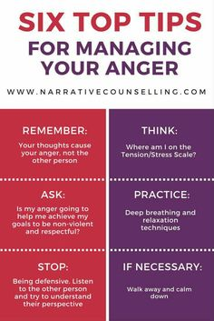 Six top tips for managing your anger.