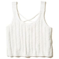 Hollister Strappy Sweater Tank ($25) ❤ liked on Polyvore featuring tops, white, white tank, strap crop top, crop tank, strappy top and white singlet