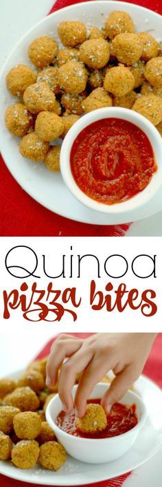 Quinoa Pizza Bites. These power packed little pizza bites are loaded with balanced protein, antioxidant rich veggies, and with a big pizza flavor, the kids will never know! http://www.superhealthykids.com/quinoa-pizza-bites-recipe/