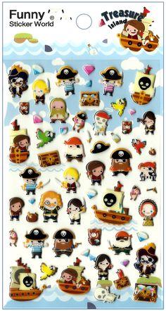 Kawaii Korea Treasure Island Puffy Sticker Sheet