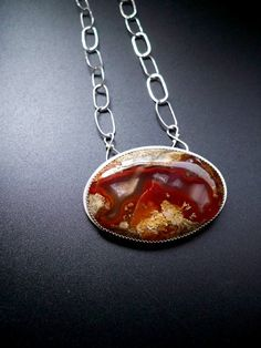 Sterling silver red agate oval necklace, made with handcut cabochon and handmade sterling silver neck chain - OOAK $195