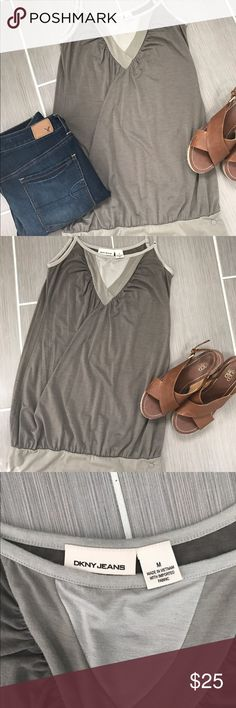 DKNY Shades of Green Dress Tank - Size M This DKNY Tank Dress is perfect for over leggings or to bunch up and wear over skinny jeans.  It's stretchy band at the bottom with help complete many looks! DKNY Dresses Mini