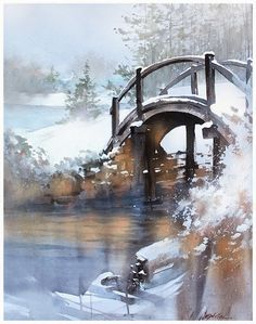 Winter Bridge – Ohio. Artist Thomas Schaller