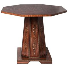 Octagon Round Marquetry Moroccan Pedestal Table | From a unique collection of antique and modern center tables at http://www.1stdibs.com/furniture/tables/center-tables/