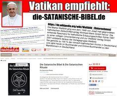 """Ironie hoch 10... Die römisch-katholische Kirche verkauft """"Die Satanische Bibel"""" - ein Grundlagenwerk der Church of Satan. #papst #satan #satanisch"""