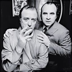 Michael Caine  Bob Hoskins, Raymond's Revue Bar, London    photo by Terry O'Neill, 1985