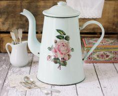 Vintage French Aqua/Mint Enamelware Coffee Pot with Rose Detail - circa 1940s via Etsy