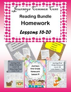 Five weeks of homework using Journeys Common Core. Lessons 16-20 book level 1.4. Includes the stories: Let's Go to the Moon!, The Big Trip, Where Does Food Come From?,Tomas Rivera, Little Rabbit's Tale. You can also buy the lessons individually at my store Hello Let's Teach 1st grade homework that reviews lessons taught in Journeys Reading Series, but can go along with any other reading series.