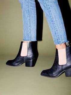 Vegan Pacific Chelsea Boot | Classic Chelsea style ankle boots featuring a modern square toe design. Elastic side panels for an easy fit. Chunky block heel creates a cute and comfortable step. Padded footbed for support. Pull tab accent makes this style easy to slip on and off.