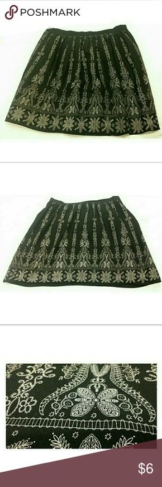 """🔥3/$10 CUTE RETRO COTTON SKIRT BLACK WHITE 🔥🔥🔥THIS ITEM IS PART OF MY 3/$10 SALE! BUNDLE WITH 2 MORE ITEMS MARKED WITH 🔥 & YOU WILL GET ALL 3 LISTINGS FOR $10!!!🔥🔥  This versatile skirt is lightweight, lined, & ready for action! It has a printed on """"embroidery"""" design (see pic). Cute retro look! This skirt kinda has that """"bell"""" shape with fitted waist & a little bit of """"poof"""" even sans a petticoat Skirts Midi"""